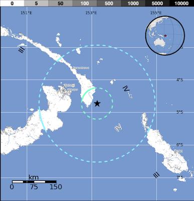 Terremoto de 6,7 grados se registró en la Región de Nueva Irlanda, Papúa Nueva Guinea el 28 de julio 2012