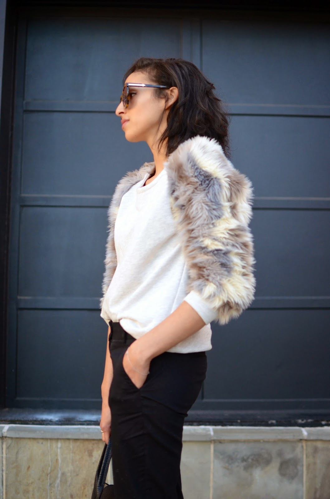 faux fur, faux fur sweatshirt, new hairdo, short curly hair, short hair, Karen Walker Super, 3.1 Phillip Lim Pashli