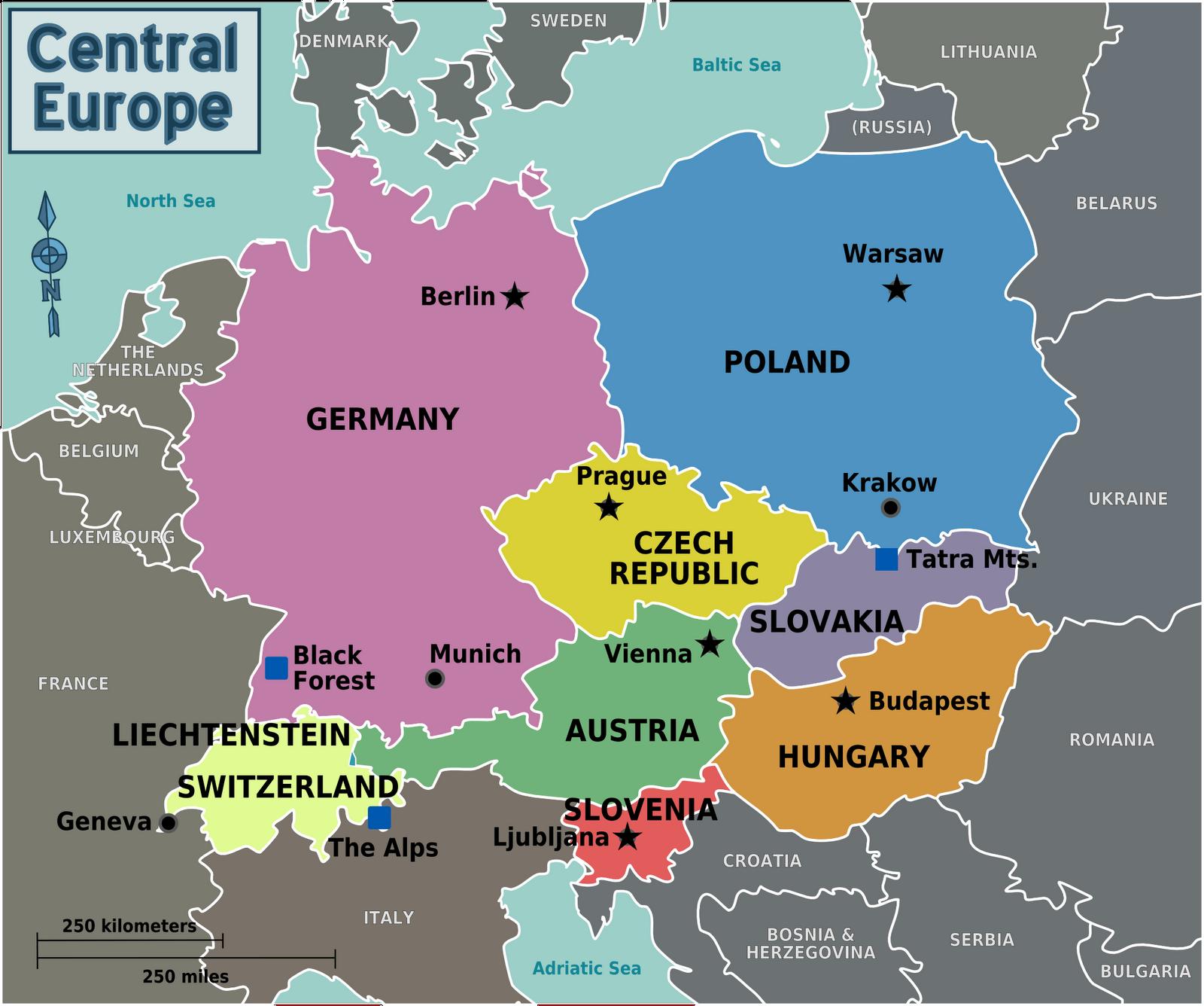 Zentral Europakarte Politisch Bild