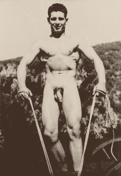 Naked men jump roping