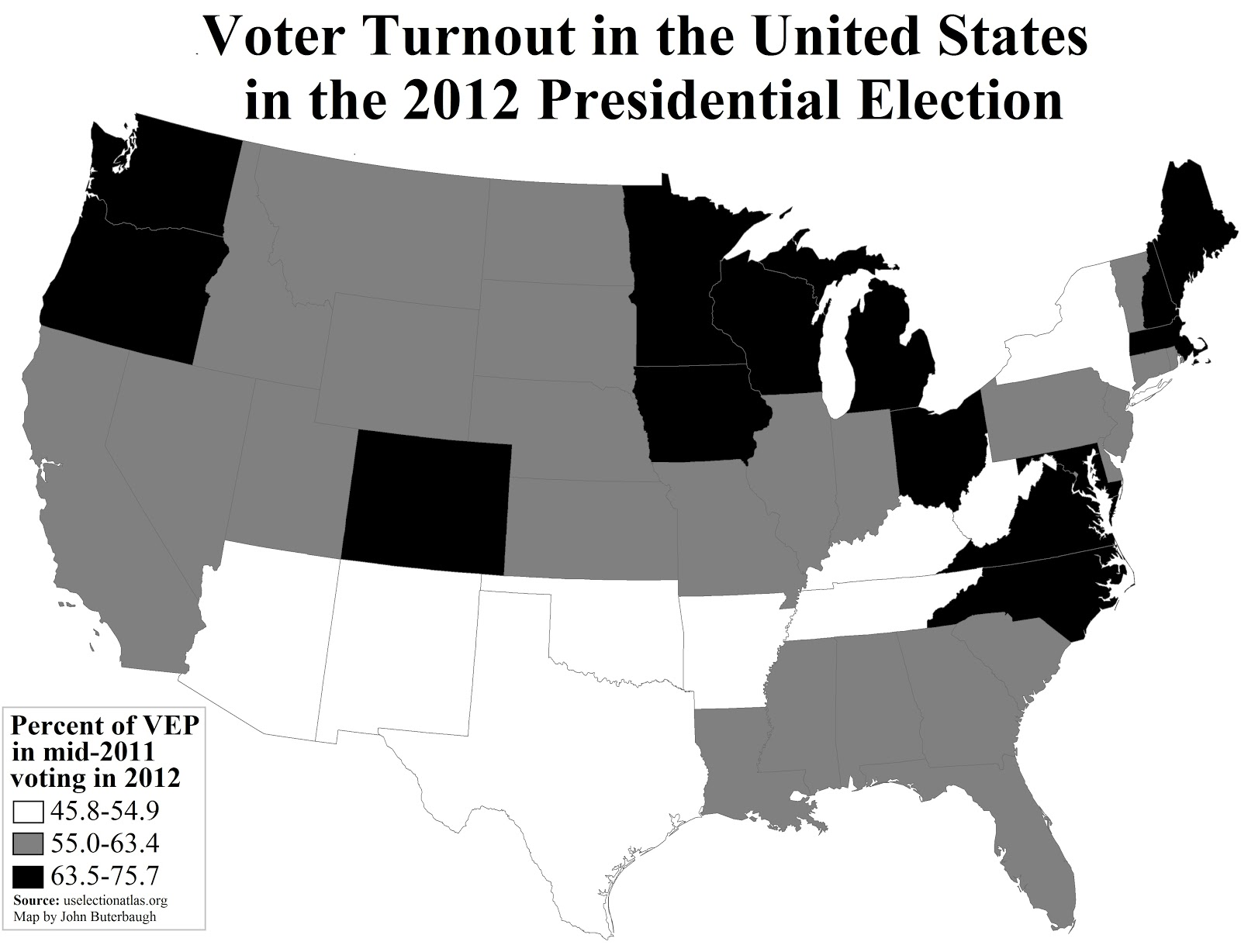 the black states are those with higher shares of voters within the mid 2011 voting eligible population of the 14 black states seven were considered