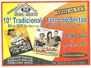 10ºTRADICIONAL FORRÓ DO SERTÃO DA MORAR CASA SHOW EM CARAÚBAS-RN