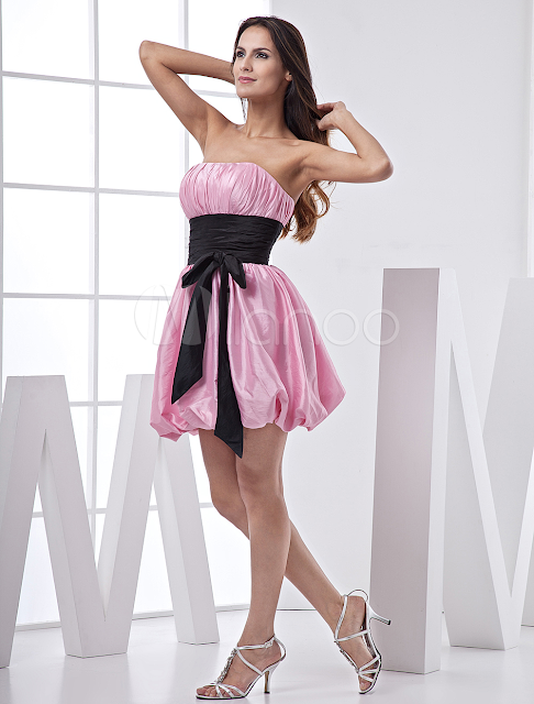 China Wholesale Clothes - Pink Short Taffeta Sash Prom Dress
