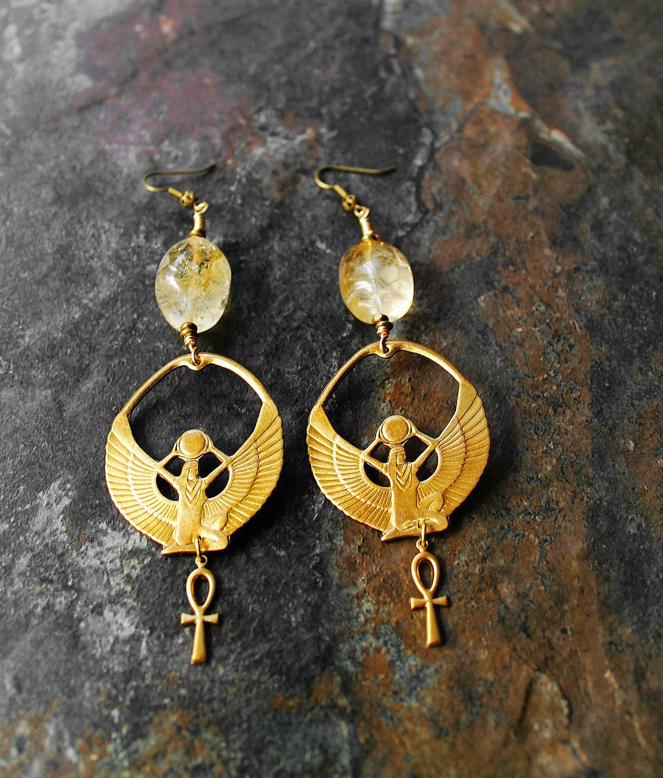african brass ankh earrings