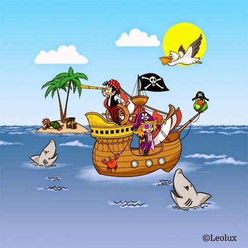 barco pirata, dibujo, infantil,