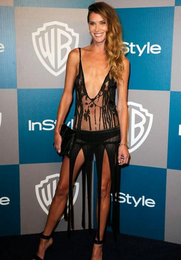 Foto Hot Model Erin Wasson dengan Gaun Transparan di Red Carpet