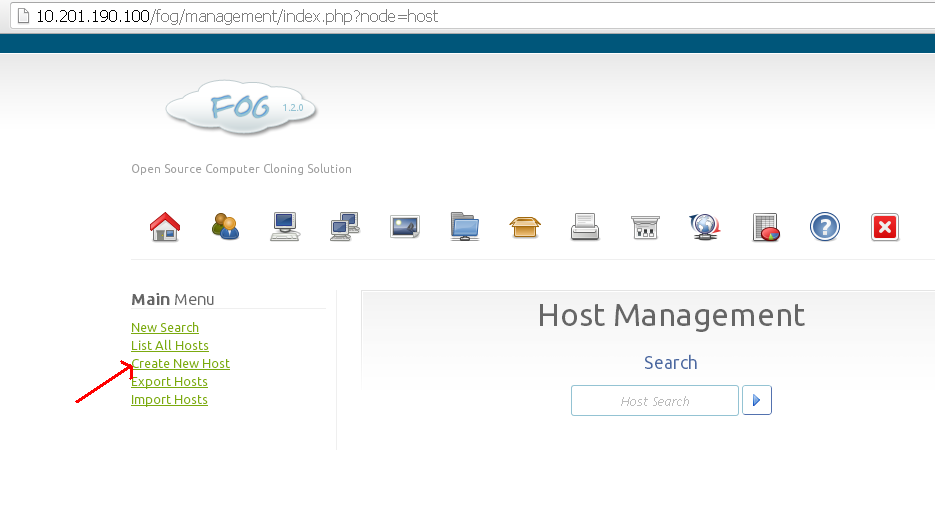 add hosts in fog server version 1.2.0