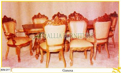 Kursi dan Meja Makan Kayu Jati Ukiran Ganesa