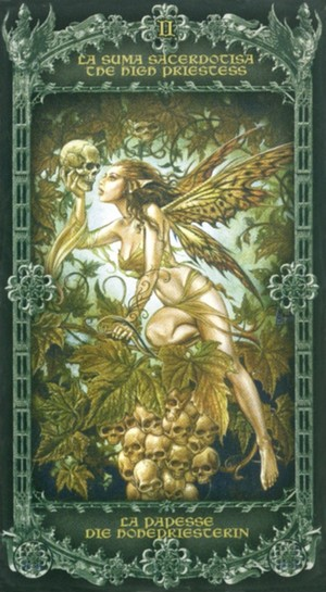 Alchemy 1977 England Tarot High Priestess ราชินีพระจันทร์ สังฆราชหญิง สังฆราชินี ไพ่ทาโรต์ Gothic หัวกระโหลก โกธิค ไพ่ทาโร่ ทาโรท์ ไพ่ยิปซี ดูดวง ทำนาย Papess Tarot