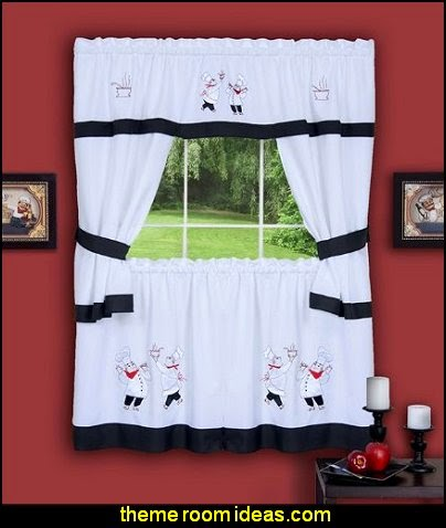 Fat Chef Gourmet Embellished Cottage Topper Curtains
