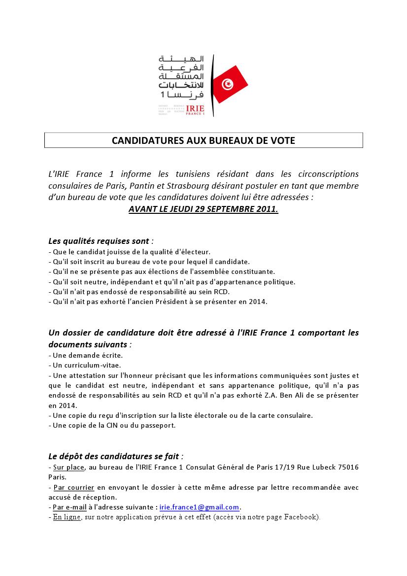 irie 1 vous souhaitez tenir un bureau de vote candidatez avant le 29 septembre 2011