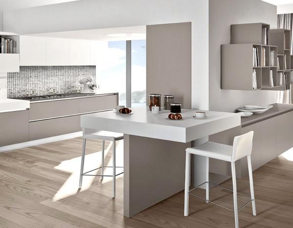 20 formas de incorporar una mesa en la cocina cocinas - Mesas para cocinas modernas ...
