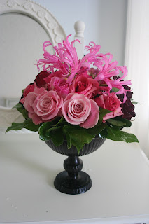 Ombre wedding centerpiece, compote, Isha Foss Events