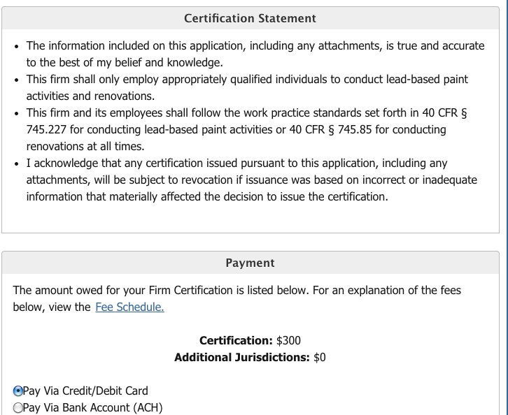 EPA Lead Certification for Firm