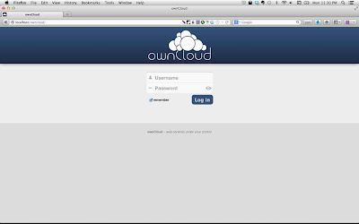 ownCloud Server Login Screen