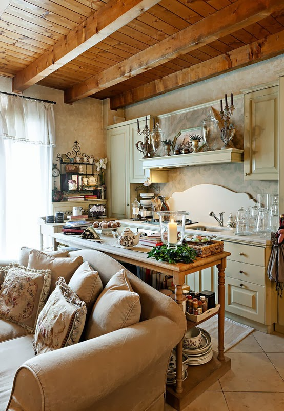 ... Cucina Soggiorno : Boiserie amp c piccola cucina aperta sul soggiorno