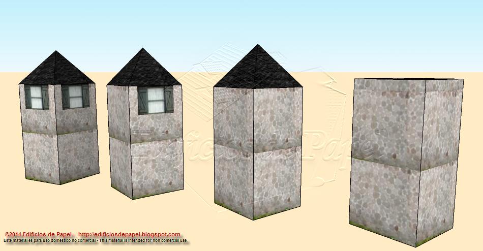 Cuatro torres de piedra para combinar y construir tu maqueta de papel