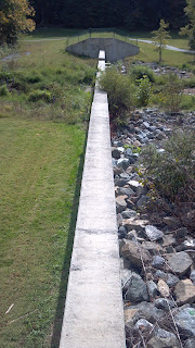 wall separating grass and rocks