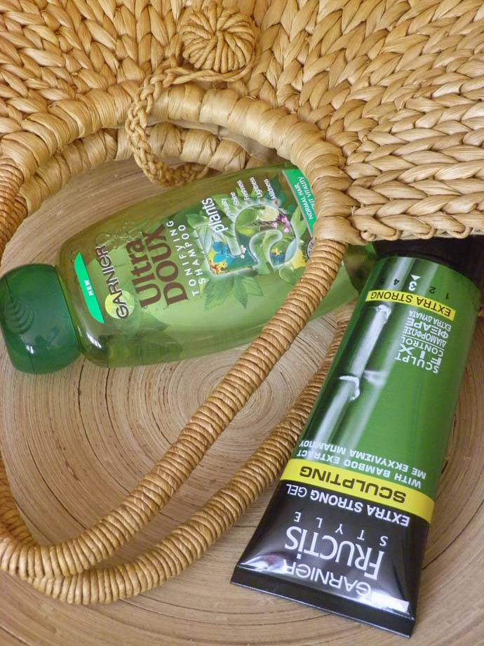 Garnier Ultra Doux 5 plants tonifying shampoo and Garnier Fructis style sculpting extra strong gel