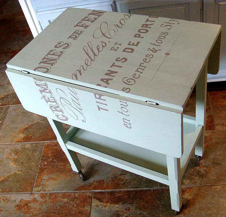 Ashley diy painted table with blender pen transfer for Drop leaf table ideas