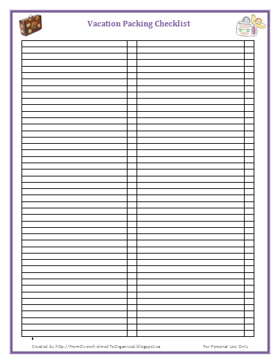 printable packing list template .
