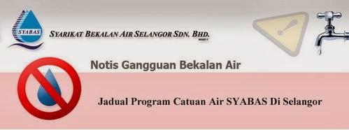 Jadual Catuan Air SYABAS Di Selangor 2014