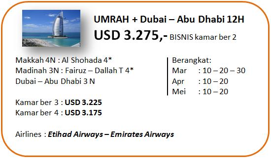 Paket Umroh Plus Dubai Bisnis 12 Hari