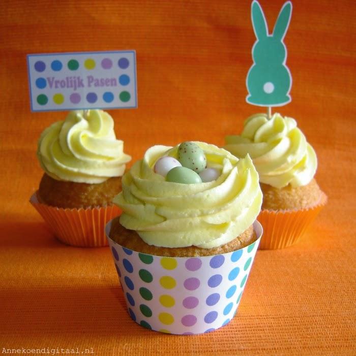 Paas cupcakes wrappers Annekoendigitaal