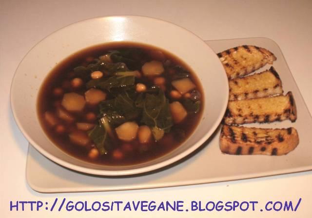 aglio, broccoli, broccolo romano, brodo, ceci, legumi, pane, ricette vegan, Salutiamoci, seitan, zuppa alla provenzale, Zuppe,