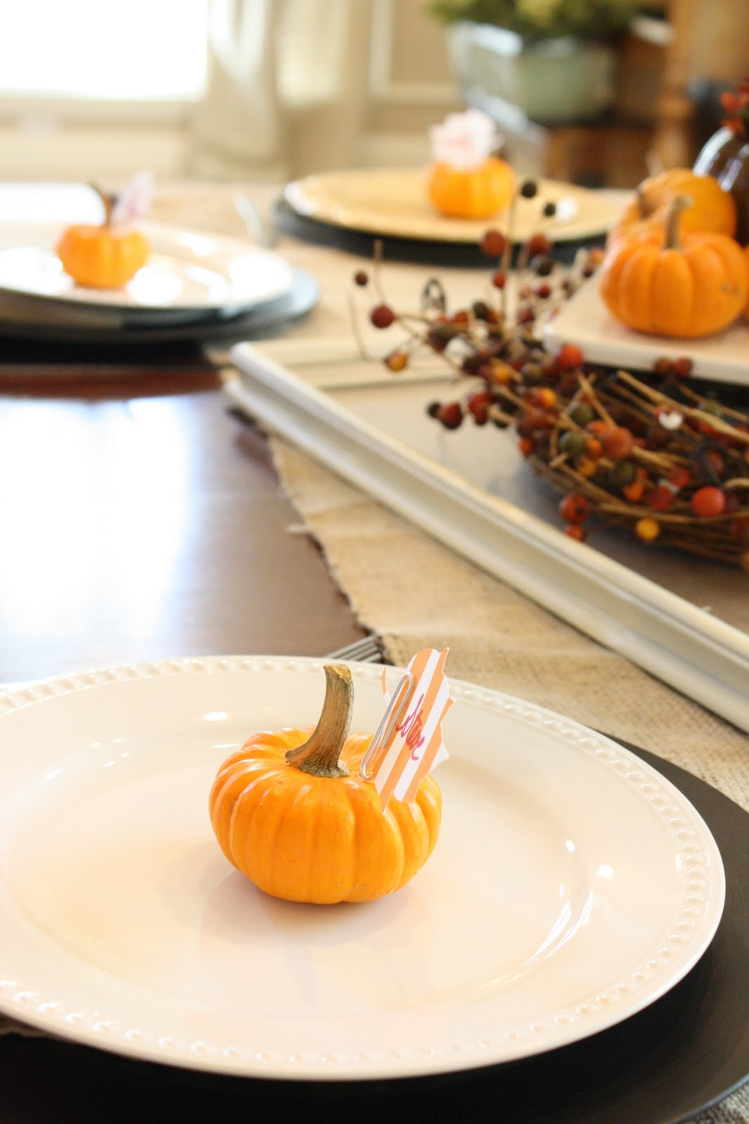 52 mantels mini pumpkin place card holders for Table 52 thanksgiving