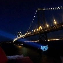 Cat Signal on the San Francisco Bay Bridge. Credit: @EFF