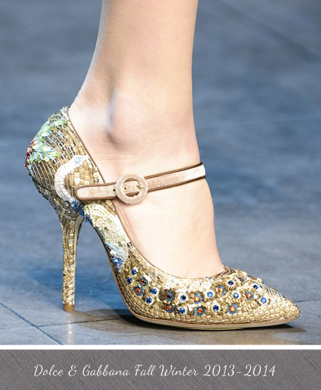 Dolce and Gabbana Golden Mosaic Mary Jane Pump Fall Winter 2013