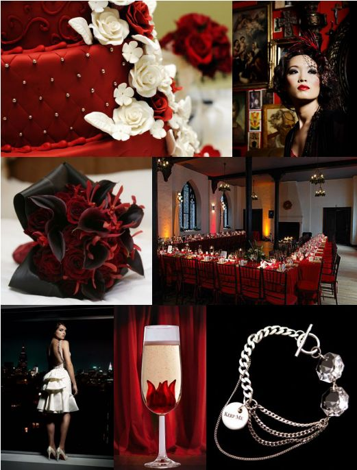 Here are some ideas for a black white wedding with accent of red