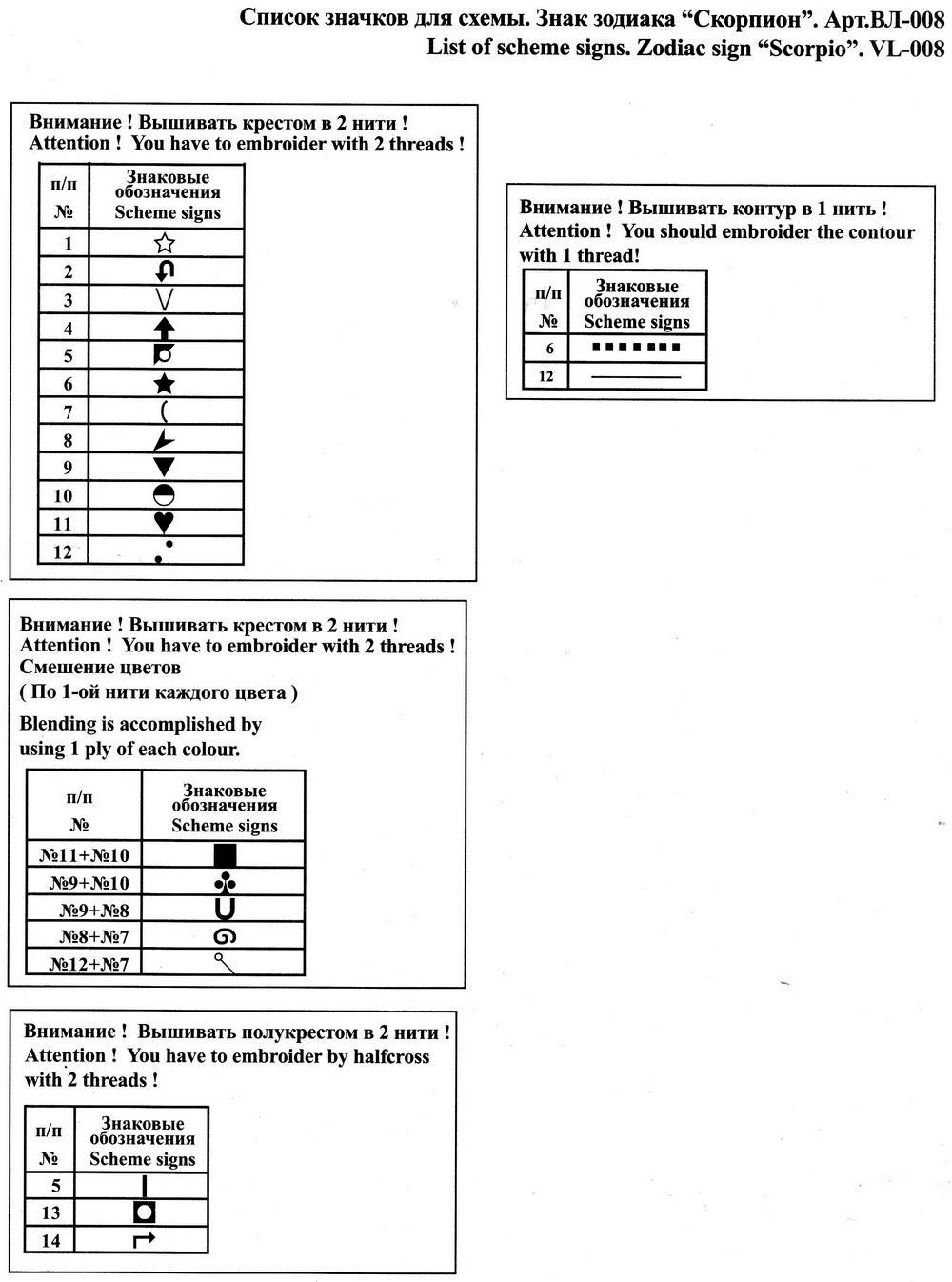 скорпион схема вышивки крестом