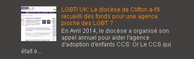 LGBT/ UK: Le diocèse de Clifton a-t'il recueilli des fonds pour une agence proche des LGBT ?