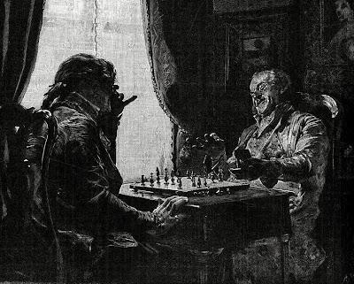 Grabado de Soler basado en un cuadro de Jiménez Aranda con el ajedrez de fondo