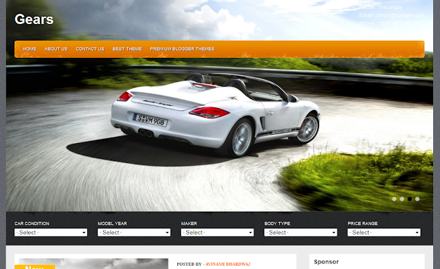 Special Car Theme Blogger Template
