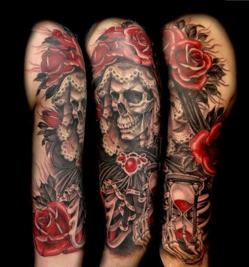 Tatuaje en el brazo de La Santa Muerte
