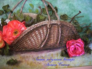 картины вышитые лентами, розы в корзине