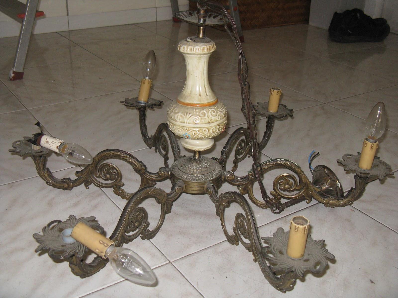riciclo creativo da lampadario a portatorte