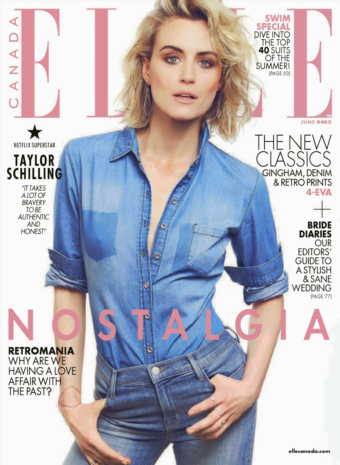 Actress @ Taylor Schilling - Elle Canada, June 2015