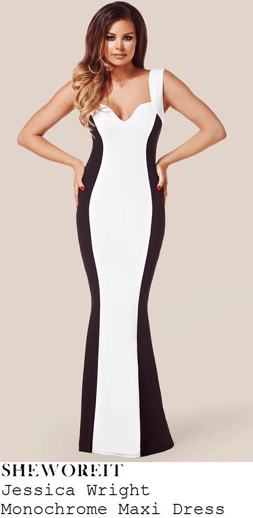 jessica-wright-black-and-white-monochrome-fishtail-hem-maxi-dress-baftas
