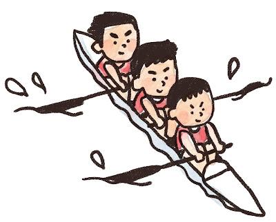 3人乗りカヌーを漕いでいる人達のイラスト(スポーツ)