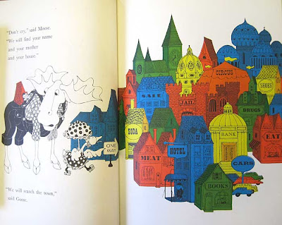 Spread from Moose, Goose with many detailed buildings each in a bright color