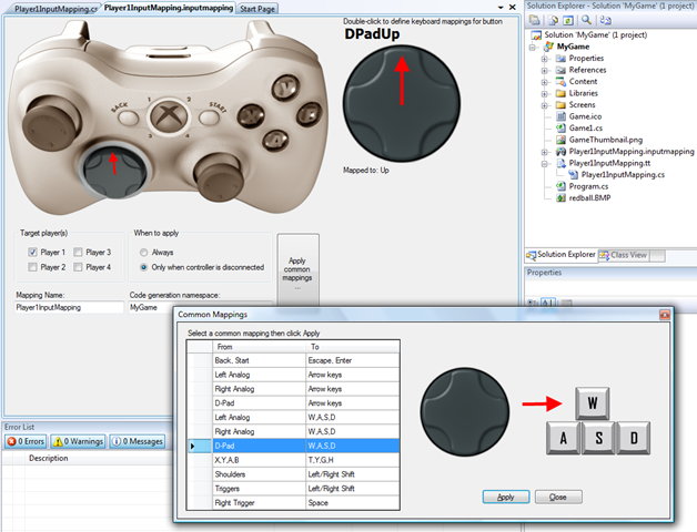 Exemplo de mapeamento dos botões de um joystick no XNA