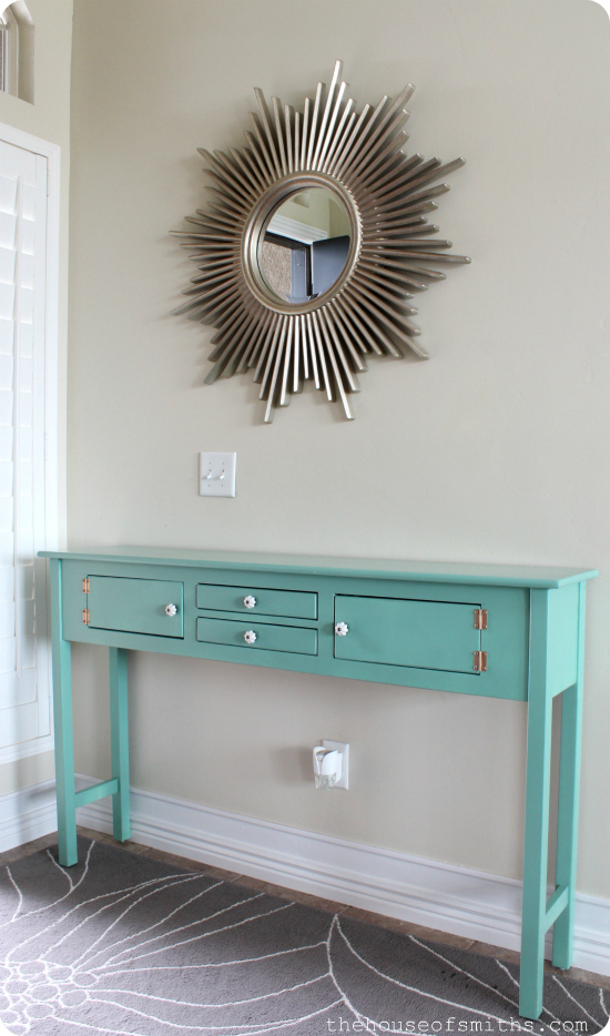 Painting Entryway table redo for $12 - holla! + my best tips on how to spray paint