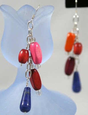 Colourful earrings (sterling silver, wood beads) :: All Pretty Things