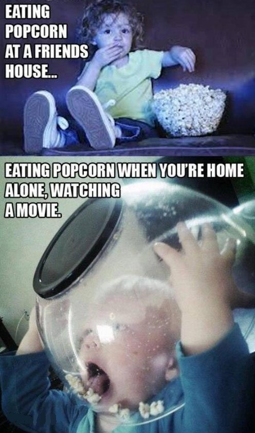 Funny infants eating popcorn
