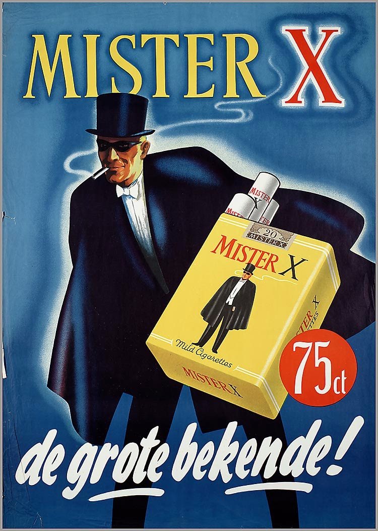 Poster design 1950 - 1950 Mister X 75 Cents The Big Unknown