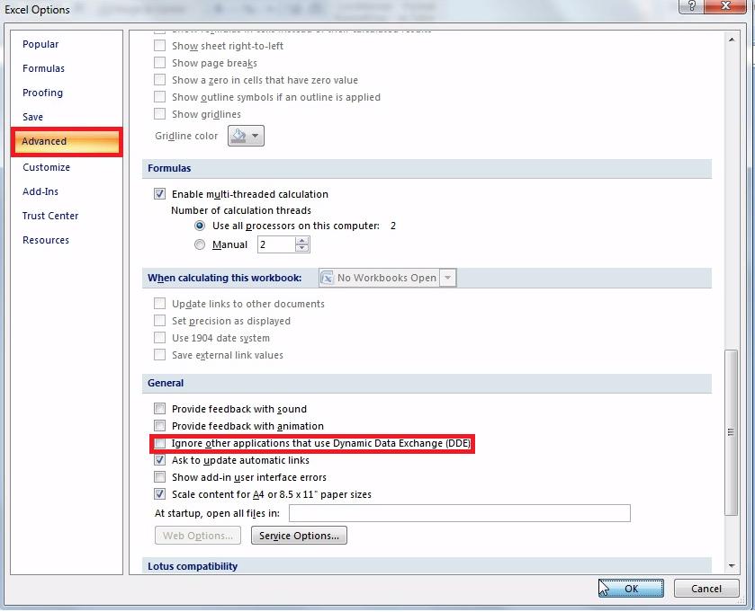 excel problem sending command to program 2010